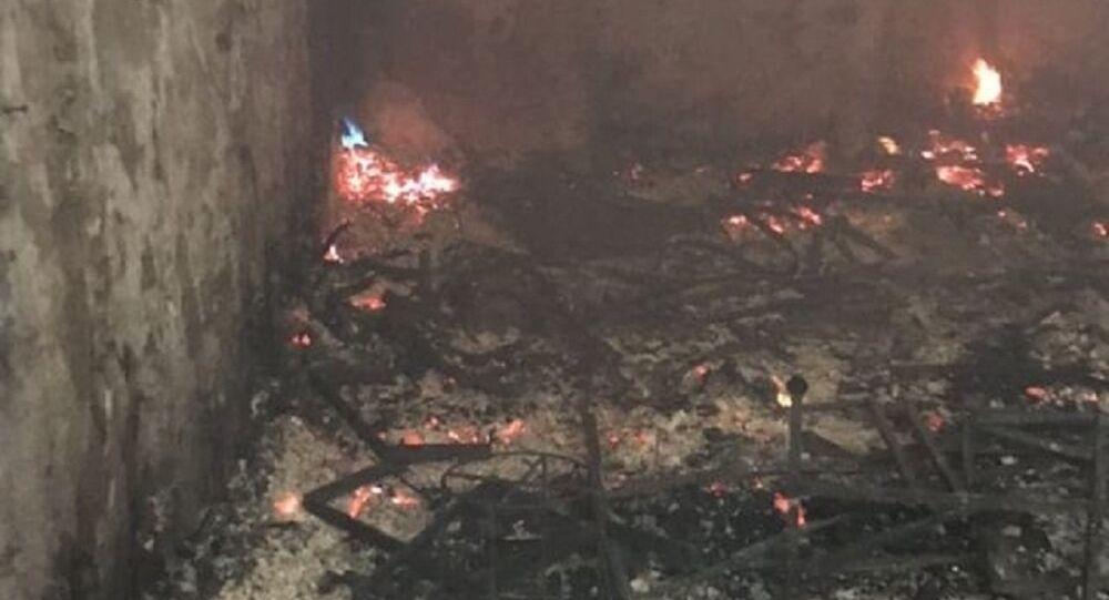 الحريق الذي التهم مئات المحال التجارية في سوق بإقليم كردستان العراق