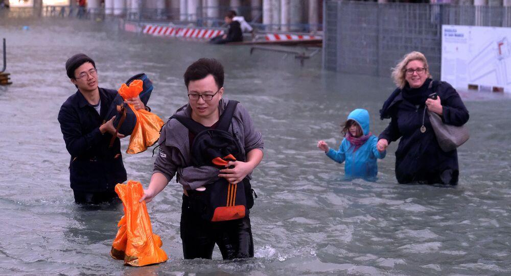 فيضانات في مدينة فينيسيا (البندقية)، إيطاليا 29 أكتوبر/ تشرين الأول 2018