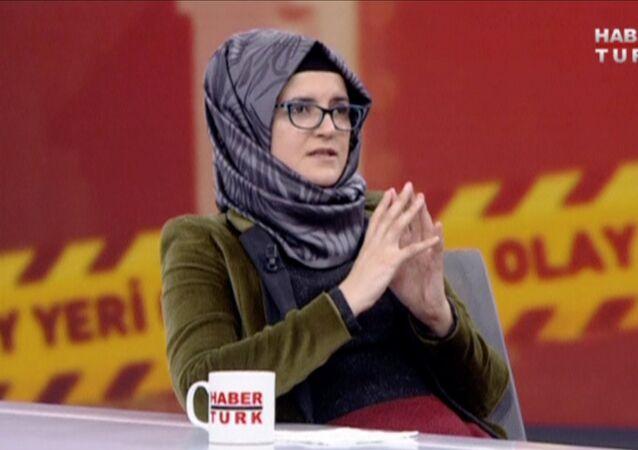 خديجة جنكيز خطيبة الصحفي السعودي جمال خاشقجي في حوارها مع  قناة هابيرتورك (Haberturk)، أكتوبر/تشرين الأول 2018