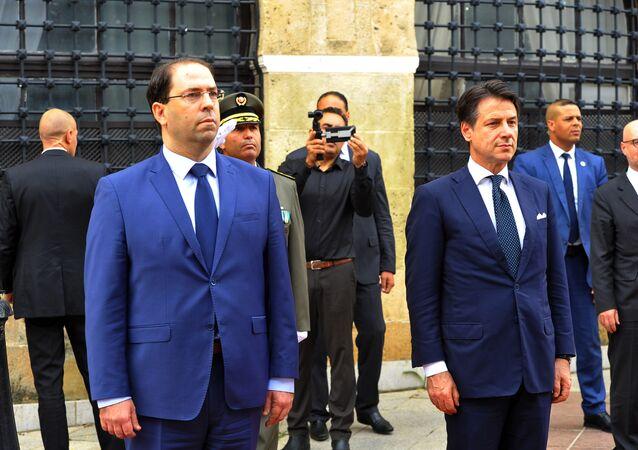 رئيس مجلس الوزراء الإيطالي، جوزيي كونتي ورئيس الحكومة التونسية يوسف الشاهد