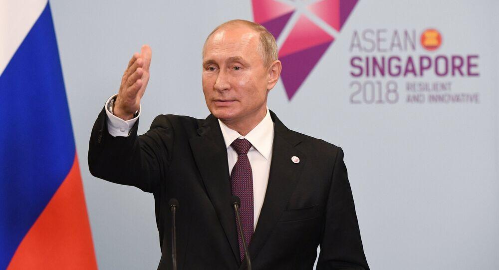 الرئيس الروسي فلاديمير بوتين في سينغافورة