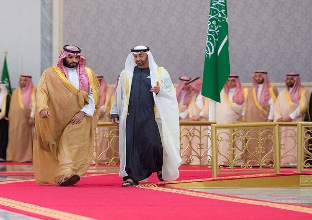 ولي عهد أبو ظبي محمد بن زايد يستقبل ولي العهد السعودي الأمير محمد بن سلمان