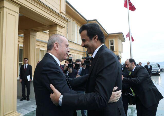 الرئيس التركي رجب طيب أردوغان يستقبل أمير قطر الشيخ تميم بن حمد آل ثاني لدى وصوله لاجتماع في اسطنبول، 26 نوفمبر/تشرين الثاني 2018
