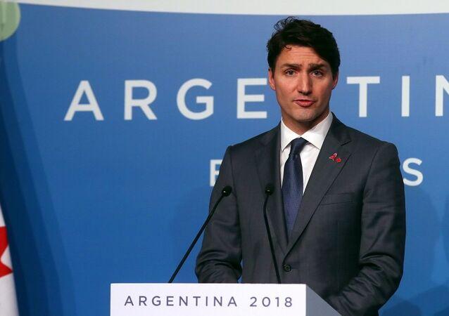 رئيس الوزراء الكندي، جاستين ترودو، في مؤتمر صحفي أثناء قمة العشرين في الأرجنتين