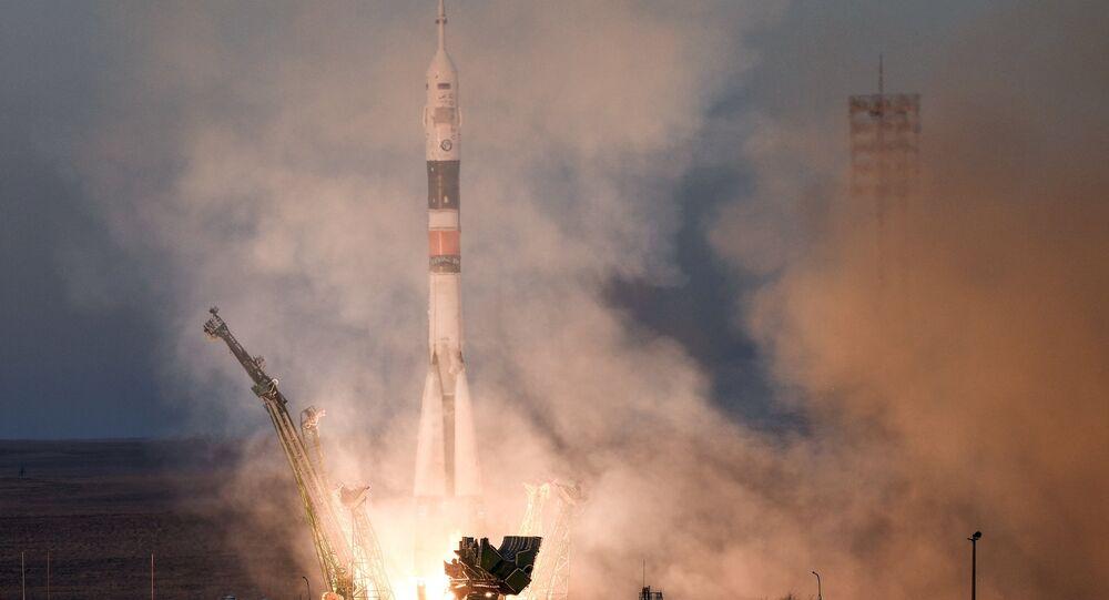 إطلاق مركبة سويوز-ف. غ. من محطة بايكونور، 3 ديسمبر/ كانون الأول 2018