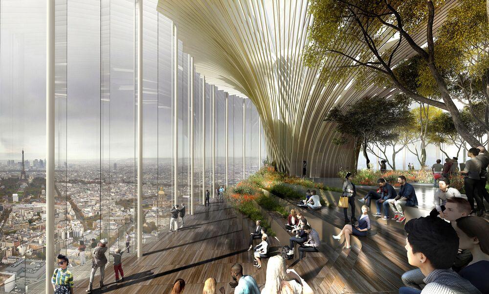 مشروع معماري لمبنى Tour Montparnasse في باريس، الذي فاز في فئة جائزة زجاج المستقبل