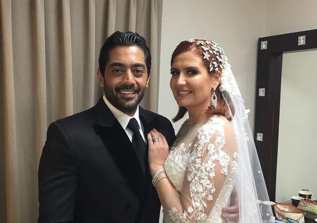 الممثلان المصريان أحمد فلوكس وهنا شيحة
