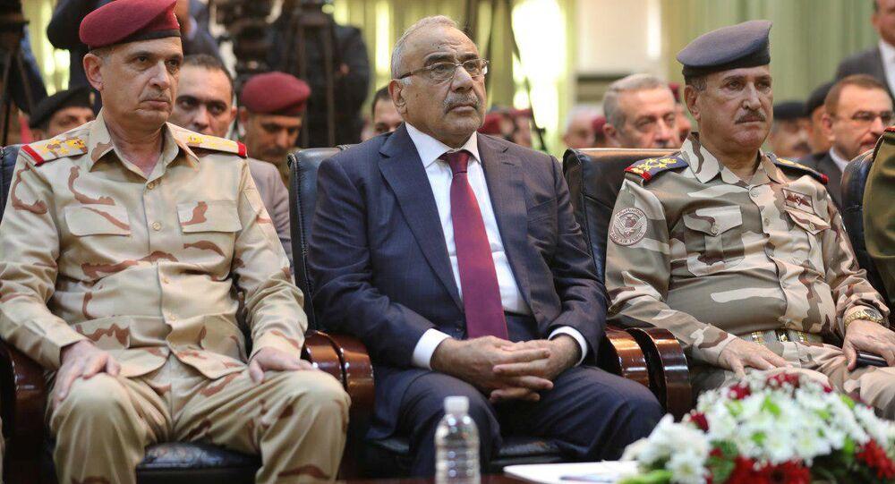 رئيس الوزراء العراقي عادل عبد المهدي يحضر الاحتفال بالذكرى السنوية الأولى لهزيمة داعش في بغداد