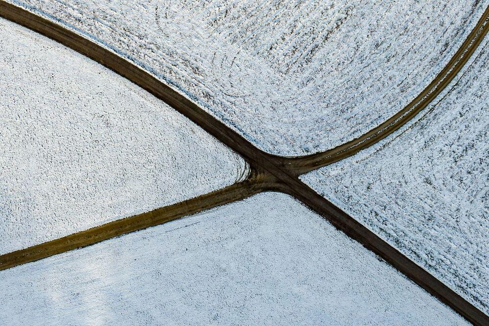 الحقول المغطاة بالثلوج، جنوب ألمانيا