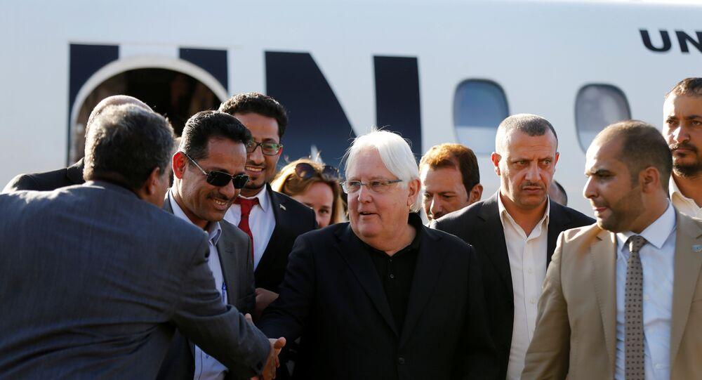موفد الأمم المتحدة إلى اليمن مارتن غريفيث أثناء وصوله العاصمة صنعاء