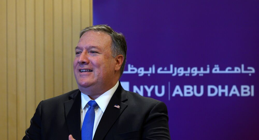 وزير الخارجية الأمريكي مايك بومبيو في لقائه بطلاب جامعة نيويورك في أبوظبي، 13 يناير/كانون الثاني 2019