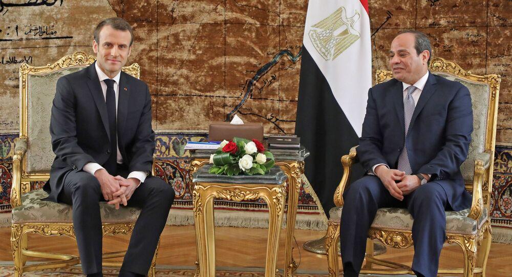 الرئيس الفرنسي إيمانويل ماكرون والرئيس المصري عبدالفتاح السيسي في القاهرة، مصر، 28 يناير/ كانون الثاني 2019