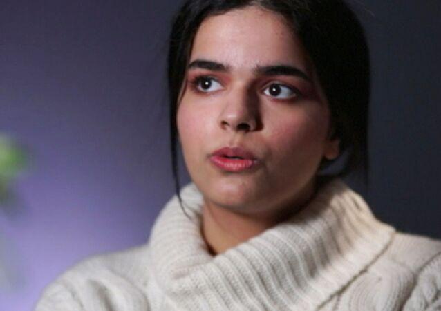 الفتاة السعودية رهف محمد القنون خلال مقابلة تلفزيونية في تورونتو، كندا 14 يناير/ كانون الثاني 2019