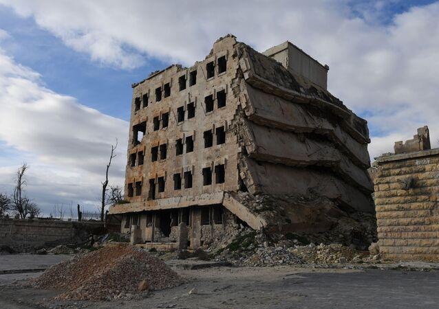 ركام منازل في ريف حلب، سوريا يناير/ كانون الثاني 2019