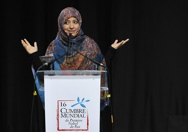 ناشطة حقوق الإنسان اليمنية، والحائزة على جائزة نوبل للسلام، توكل كرمان، خلال افتتاح القمة الدولية الـ 16 للحائزين على جائزة نوبل للسلام في بوغوتا، كولومبيا 2 فبراير/ شباط 2017
