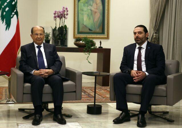 الرئيس اللبناني ميشيل عون ورئيس الحكومة سعد الحريري