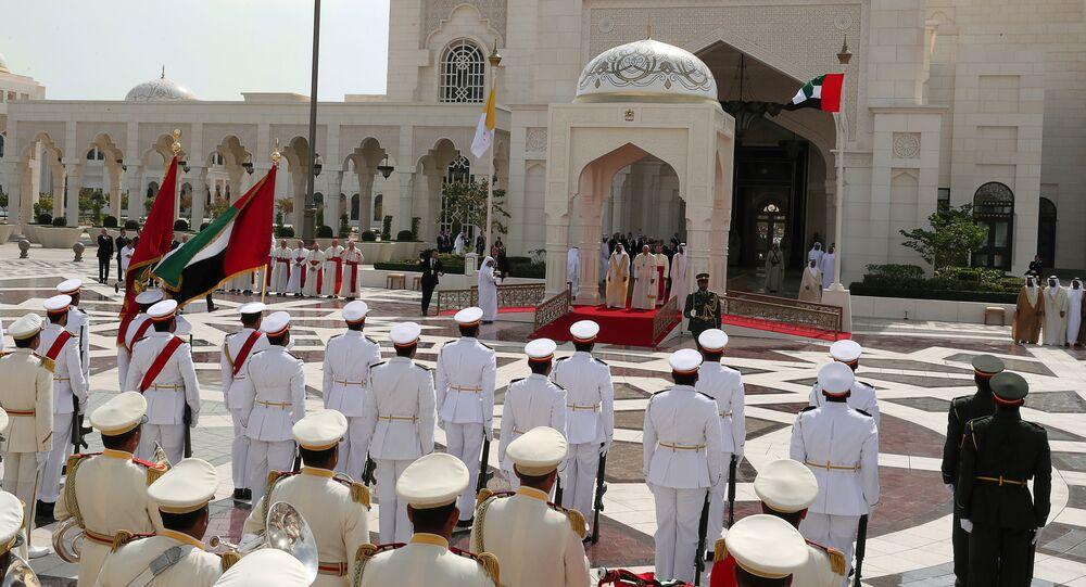 استقبال بابا الفاتيكان فرنسيس في أبو ظبي، الإمارات العربية المتحدة 4 فبراير/ شباط 2019