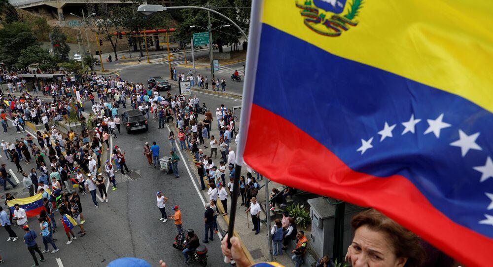 مظاهرات داعمة لزعيم المعارضة الفنزويلية خوان غوايدو في كاراكاس، فنزويلا  30 يناير / كانون الثاني 2019