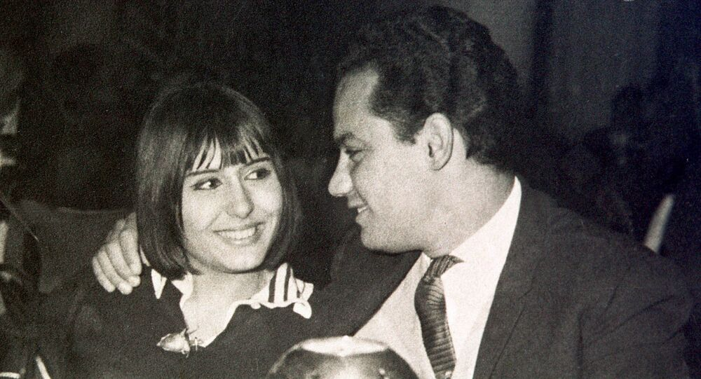 Egyptian composer Helmi Bakr, now in his sixties, with his former wife actress Suheir Ramzi dine at a hotel in Cairo in the early 1970s. Bakr composed the latest pan-Arab hit Al-Hulm Al-Arabi, sung by the Arab world's most popular singers in praise of Arab unity.