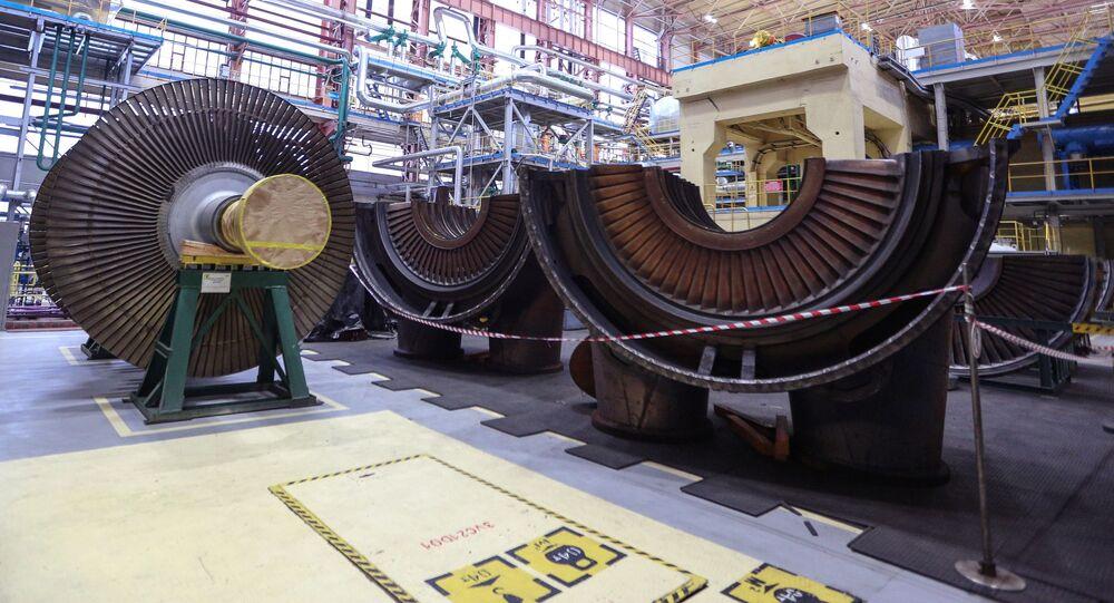 القاعة المركزية لمحطة الطاقة النووية  كولسكايا في منطقة مورمانسك الروسية