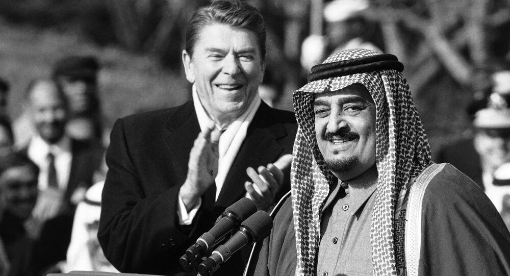 الملك فهد بن عبد العزيز مع رونالد ريغان