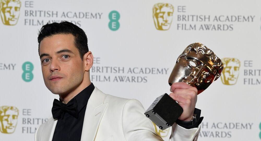 الممثل رامي مالك في حفل الأكاديمية البريطانية لفنون السينما والتلفزيون بافتا، 11 فبراير/شباط 2019