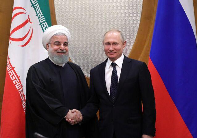 الرئيس الروسي فلاديمير بوتين ونظيره الإيراني حسن روحاني في لقاء سوتشي، روسيا 14 فبراير/ شباط 2019