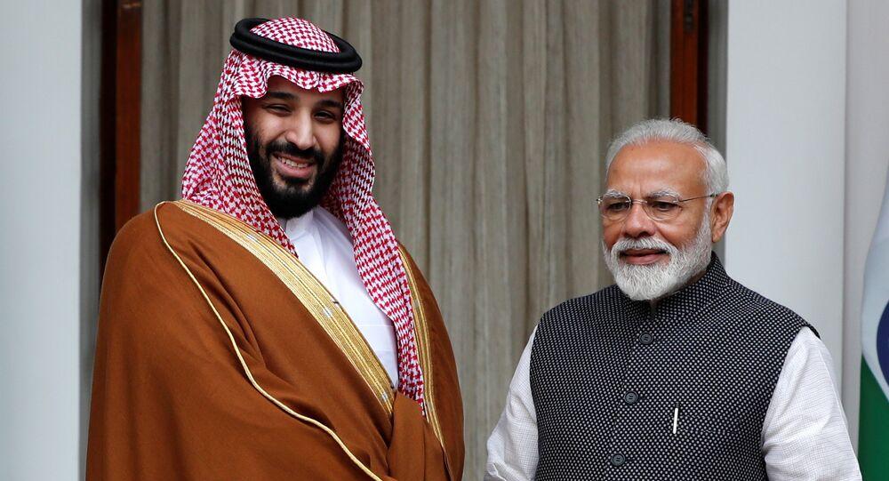 ولي العهد السعودي الأمير محمد بن سلمان، خلال مؤتمر صحفي، مع رئيس الوزراء الهندي ناريندار مودي