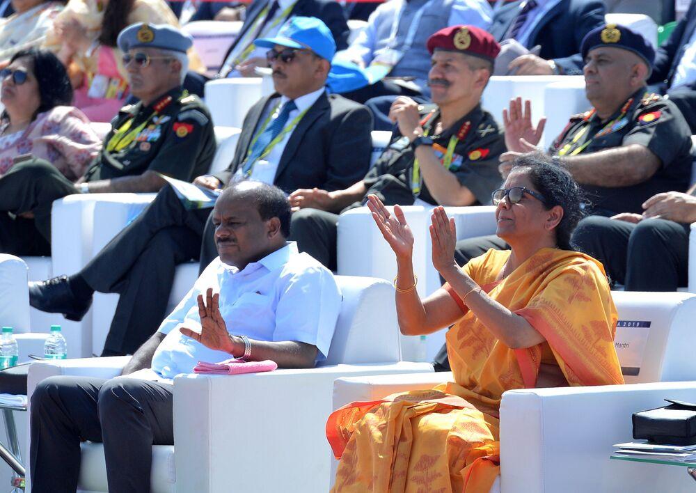 وزير الدفاع الهندية نيرمالا سيتارامان، خلال المراسم الافتتاحية للمؤتمر والمعرض العسكري آيرو إنديا 2019 (Aero India 2019) في بنغالور، الهند 20 فبراير/ شباط 2019