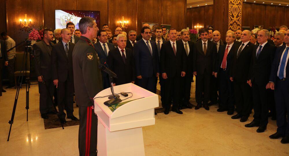 حفل الاستقبال الذي أقامته السفارة الروسية بدمشق بمناسبة الذكرى الـ 101 لتأسيس الجيش الروسي