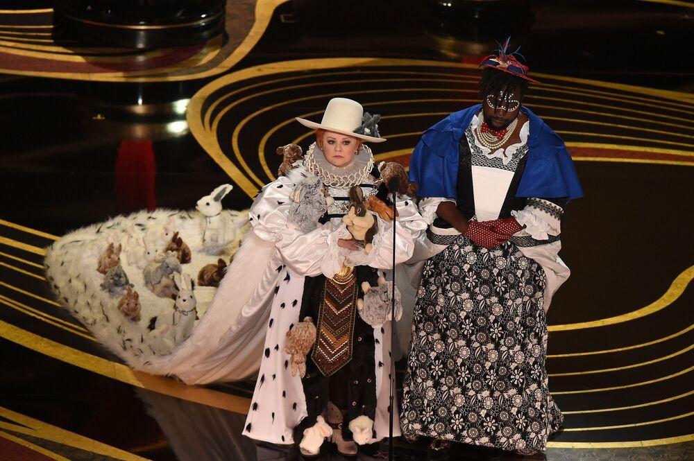 الممثلة ميليسا ماكارتي والممثل برايان تايري هينري خلال مراسم الحفل الـ 91 لتوزيع جوائز أوسكار السينمائية في هوليوود، لوس أنجلوس، كاليفورنيا، الولايات المتحدة 24 فبراير/ شباط 2019