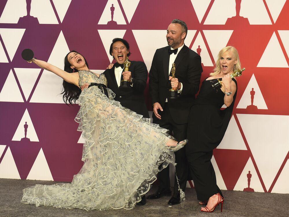 الممثلون إليزابيث تشاي فاسارهلاي، جيمي تشين، إيفان هايز وشانون ديل بعد مراسم الحفل الـ 91 لتوزيع جوائز أوسكار السينمائية في هوليوود، لوس أنجلوس، كاليفورنيا، الولايات المتحدة 24 فبراير/ شباط 2019