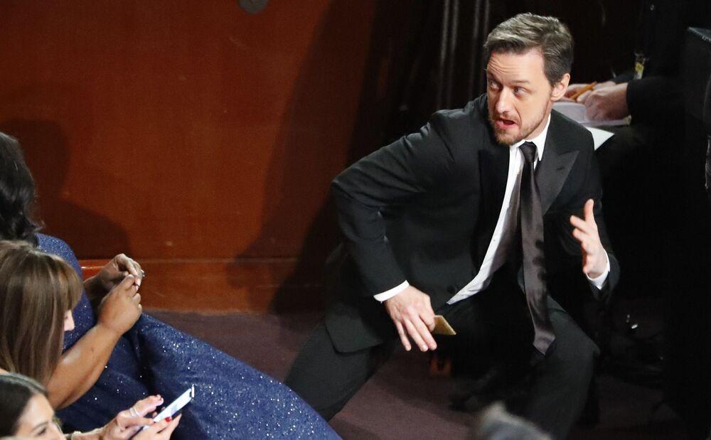 الممثل جايمس ماكوي، خلال مراسم الحفل الـ 91 لتوزيع جوائز أوسكار السينمائية في هوليوود، لوس أنجلوس، كاليفورنيا، الولايات المتحدة 24 فبراير/ شباط 2019