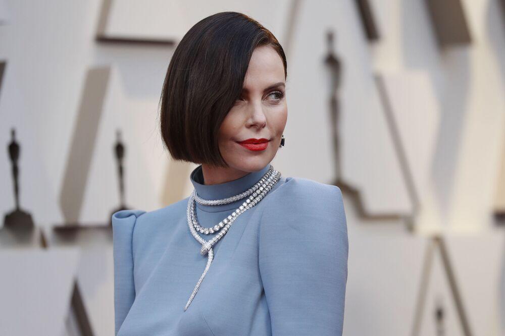الممثلة الأمريكية شارليز ثيرون، خلال مراسم الحفل الـ 91 لتوزيع جوائز أوسكار السينمائية في هوليوود، لوس أنجلوس، كاليفورنيا، الولايات المتحدة 24 فبراير/ شباط 2019