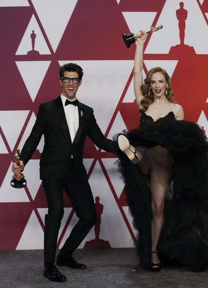 المخرج الأمريكي غاي ناتيف وجايم راي نيومان خلال مراسم الحفل الـ 91 لتوزيع جوائز أوسكار السينمائية في هوليوود، لوس أنجلوس، كاليفورنيا، الولايات المتحدة 24 فبراير/ شباط 2019