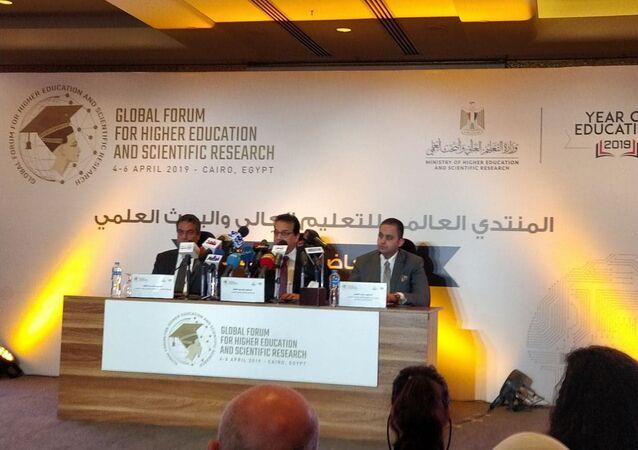 مؤتمر صحفي في القاهرة عن المنتدى العالمي للتعليم، 3 مارس/آذار 2019
