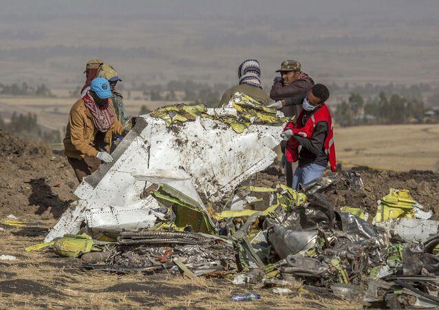 حطام الطائرة الإثيوبية المنكوبة