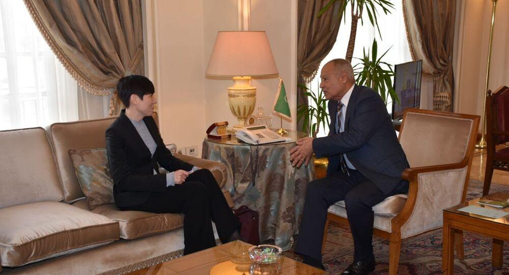 الأمين العام لجامعة الدول العربية أحمد أبو الغيط ووزيرة خارجية النرويج إينه سواريدي