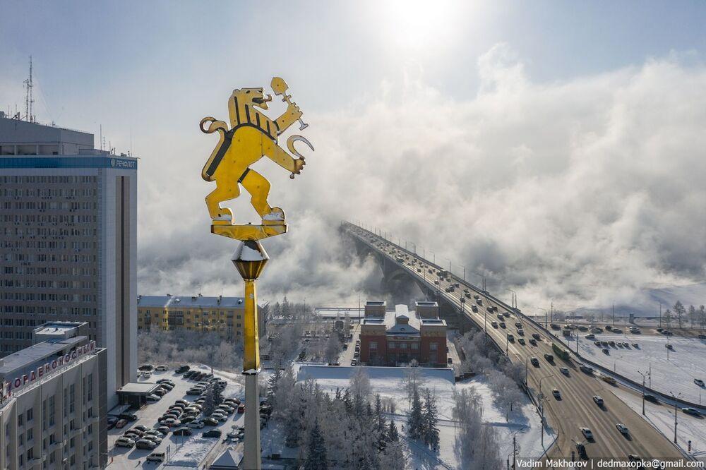 منظر شتوي لمدينة كراسنويارسك