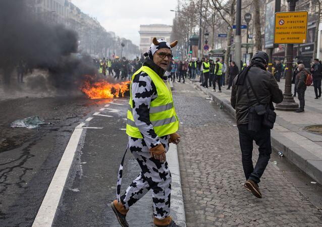 أحد المحتجين والمشاركين في تظاهرة السترات الصفراء في باريس، المستمرة منذ نوفمبر/ تشرين الثاني 2018