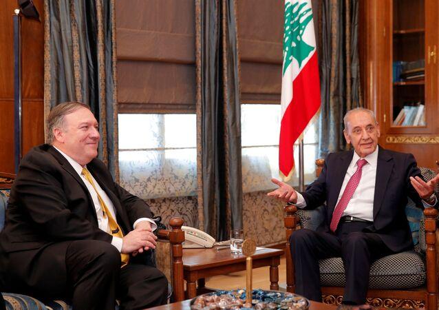 رئيس مجلس النواب اللبناني نبيه بري، مع وزير الخارجية الأمريكي مايك بومبيو