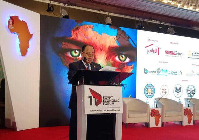وزير المالية المصرية محمد معيط خلال كلمته في مؤتمر مصر الاقتصادي 2019