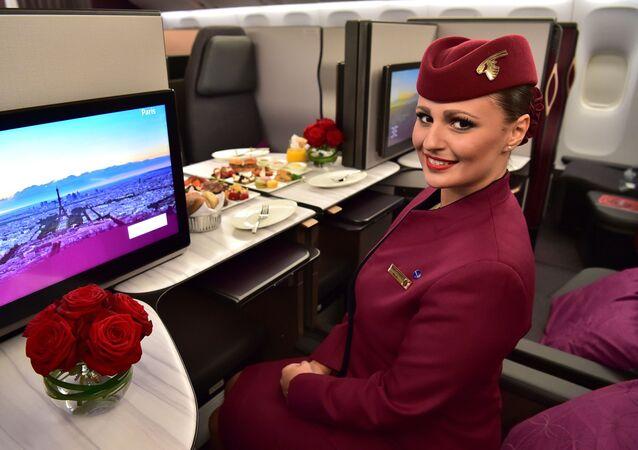صالون طائرة بوينغ 777 تابعة لشركة الطيران Qatar Airways