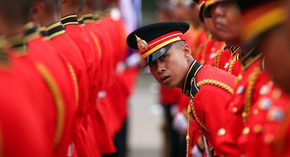 جنود حرس الشرف في مقر الجيش التايلاندي في بانكوك، 2 أبريل/ نيسان 2019