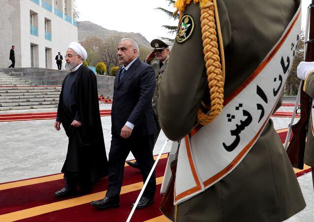 رئيس الحكومة العراقية، عادل عبد المهدي مع الرئيس الإيراني حسن روحاني