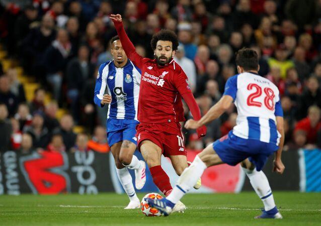 محمد صلاح خلال مباراة مباراة ليفربول أمام بورتو