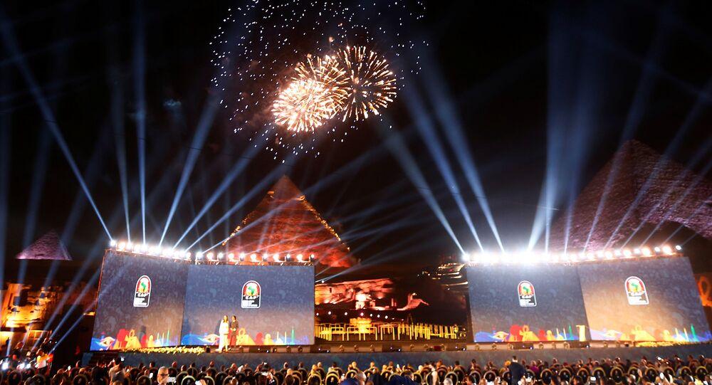 حفل قرعة كأس الأمم الأفريقية عند أهرامات الجيزة في العاصمة المصرية القاهرة، 12 نيسان/أبريل 2019