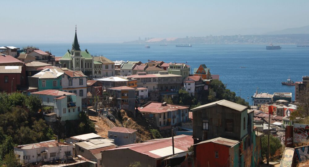 منظر للميناء من مركز فالبارايسو الثقافي بارك ، تشيلي