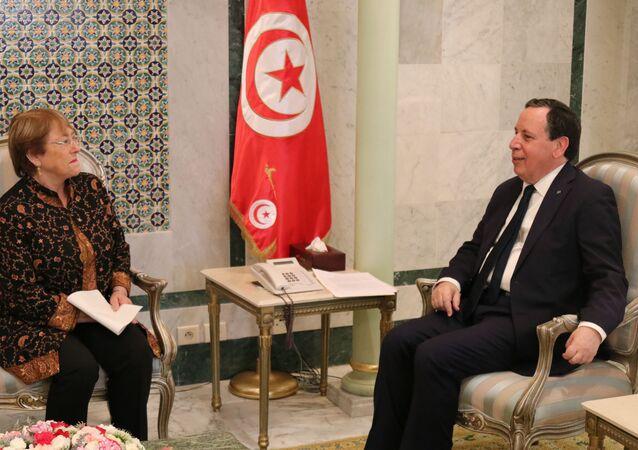 وزير الخارجية التونسي خميس الجيناوي و المفوضية السامية للامم المتحدة لحقوق الانسان ميشال باشليه