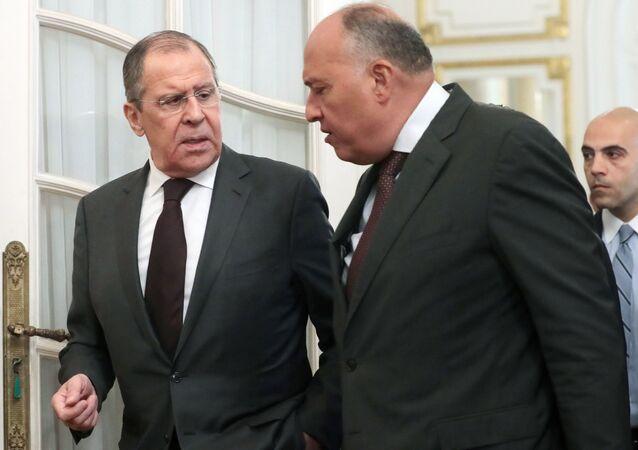 وزير الخارجية الروسي سيرغي لافروف مع وزير الخارجية المصري سامح شكري